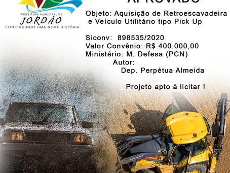 Projeto Aprovado Siconv n° 898535/2020, aquisição de Retroescavadeira e veículo utilitário