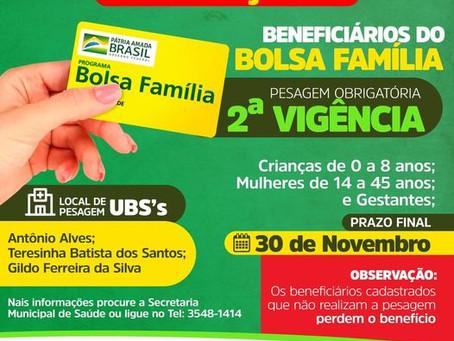 Atenção! Beneficiários do Bolsa Família: Pesagem das crianças de 0 a 8 anos é obrigatória.