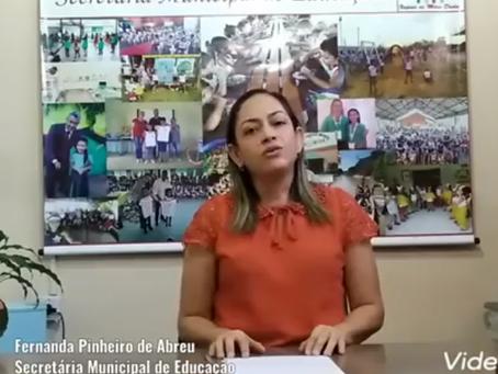 Secretária de Educação Fernanda Pinheiro anuncia recesso da aulas de Xapuri dia 20 de julho