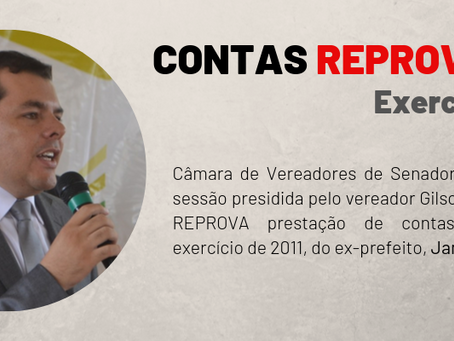 Contas de 2011 do ex-prefeito James Gomes foram REPROVADAS por maioria na Câmara Municipal