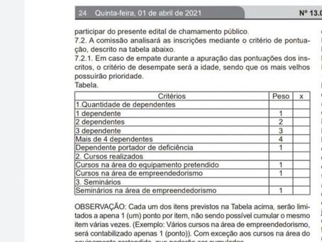 Prefeitura informa: edital para entrega de 8 kits empreendedor já está disponível