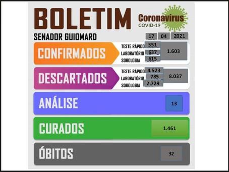 Boletim Covid-19, atualizado em 17 de abril de 2021