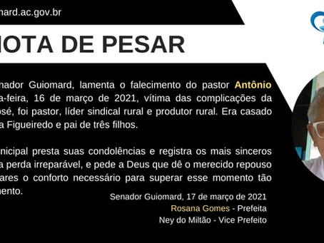 Nota de pesar: falecimento do pastor Antônio José