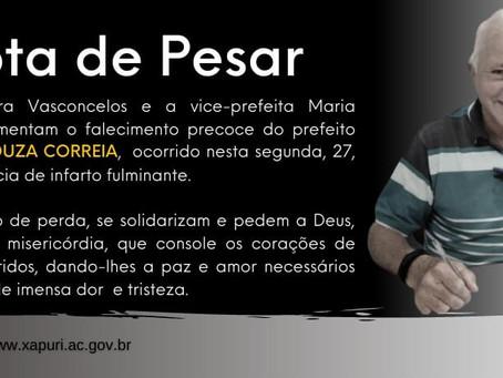 Nota de Pesar pelo falecimento do prefeito de Rodrigues Alves