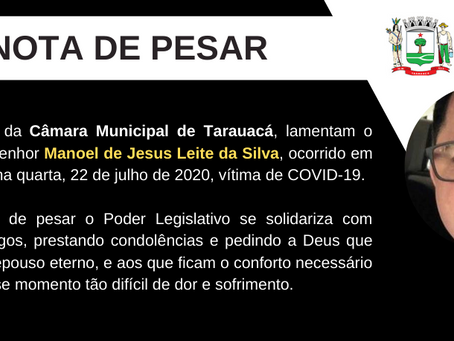 Nota de pesar: Falecimento do empresário Manoel Leite, irmão do vereador Radamés