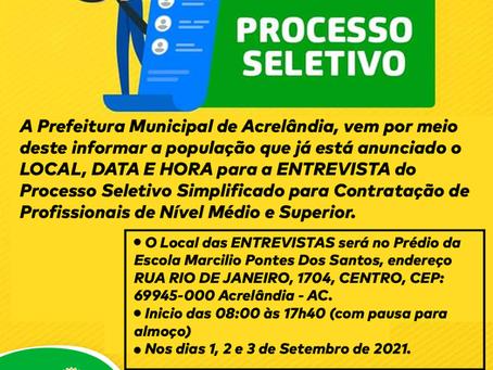 Processo Seletivo: Entrevistas serão 1, 2 e 3 de setembro na Escola Marcílio Pontes