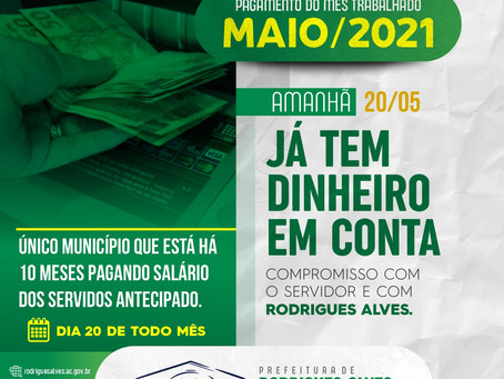 Com Jailson Amorim, há dez meses servidores públicos de Rodrigues Alves recebem todo dia 20