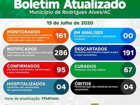 Boletim Covid-19 atualizado, 15 de julho de 2020