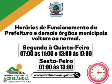 Prefeitura de Acrelândia volta a funcionar no horário normal, conforme decreto 225 de 17/08/2021