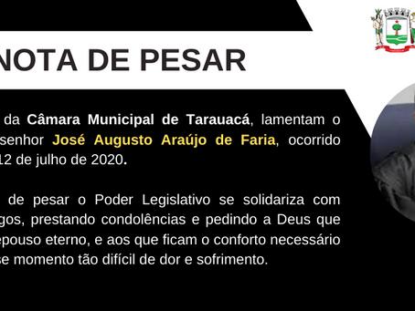 Nota de Pesar do conselheiro do TCE José Augusto, vítima de Covid-19