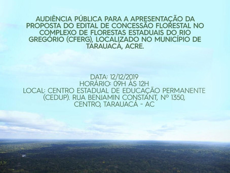 Concessão florestal é tema de audiência pública em Tarauacá