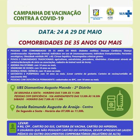 Campanha de vacinação contra a covid-19 dia 24 a 29 de maio
