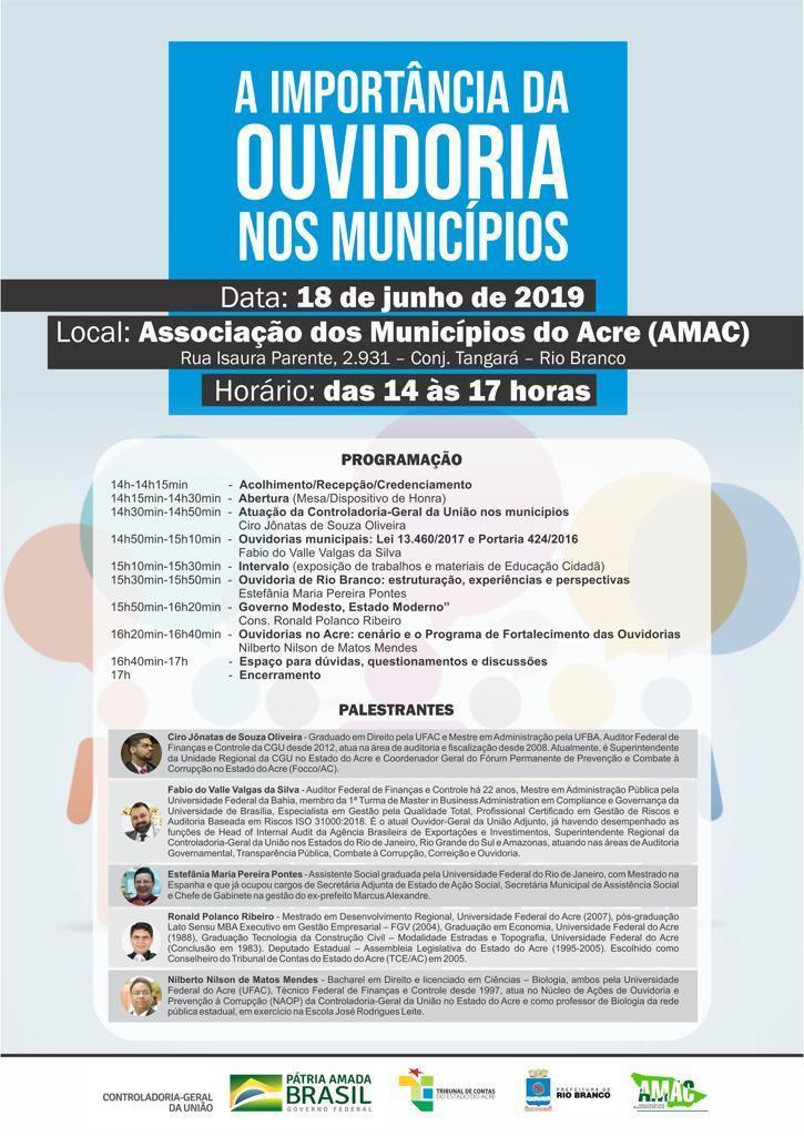 Folder com as palestras e informações sobre o evento