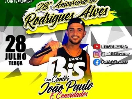 Prefeitura de Rodrigues Alves realizará Live Solidária em comemoração ao 28º anos do município