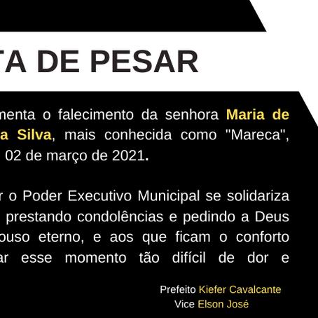 Nota de Pesar: Maria de Lourdes Damasceno da Silva