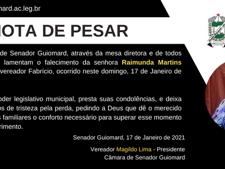 Nota de pesar: falecimento de Raimunda Martins (Dona Dica)