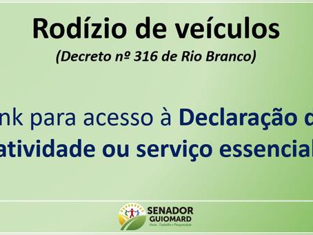 Declaração de atividade ou serviço essencial, conforme decreto nº 316/2020 de Rio Branco