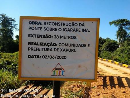 Prefeitura e Comunidade  reconstroem Ponte sobre o Igarapé INA no Ramal do Cachoeira