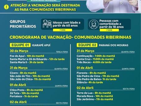 Cronograma de vacinação das comunidades ribeirinhas