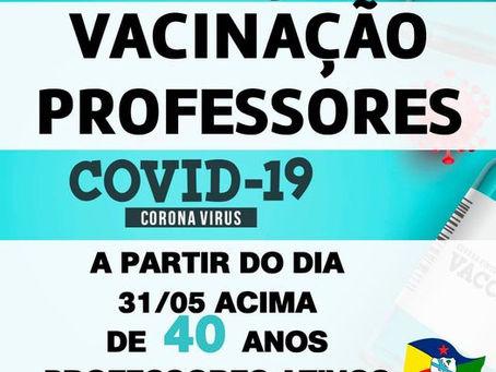 Prefeitura dará início a vacinação de professores a partir de segunda-feira,  31 de maio