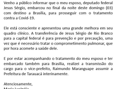 Esclarecimento: Prefeita Lucinéia transmite cargo para o vice Raimundo Maranguape interinamente