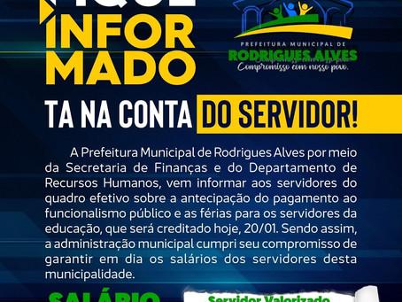 Tá na conta: Prefeitura realiza pagamento do salário dos servidores nesta quarta, 20 de janeiro