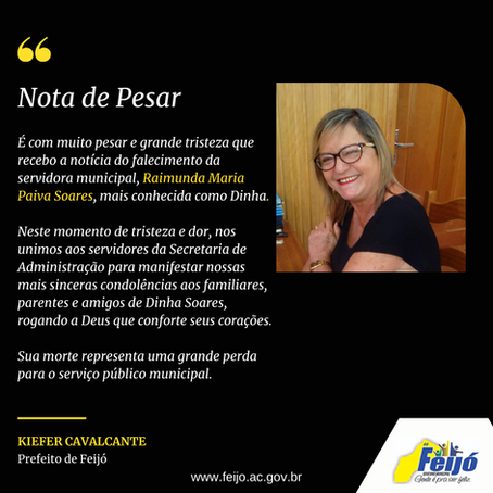 Nota de pesar: falecimento da servidora Raimunda Maria Paiva Soares