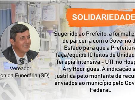 Vereador Gilson da Funerária sugere parceria com Estado para criação de 10 leitos de UTI