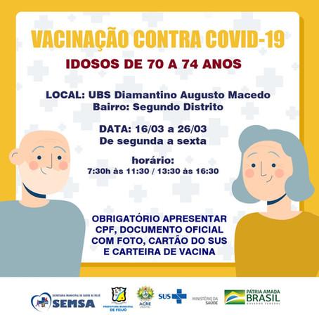 Prefeitura de Feijó continua vacinação contra a covid-19