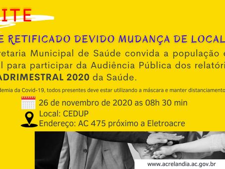 Prefeitura de Acrelândia retifica convite devido a mudança de local e data