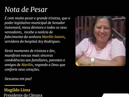 Nota de falecimento: servidora Marilin Soares, hospital Ary Rodrigues