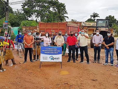 Vereadora Leire do Mixico acompanha lançamento do Mutirão de Limpeza em Senador Guiomard