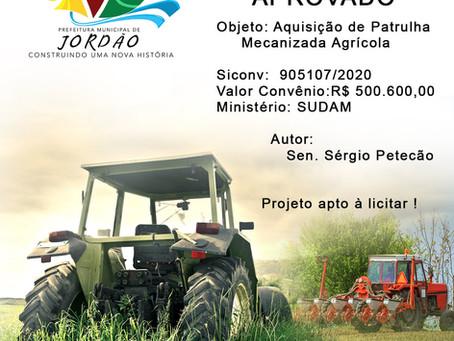 Projeto Aprovado Siconv n° 905107/2020, aquisição de Patrulha Mecanizada Agrícola