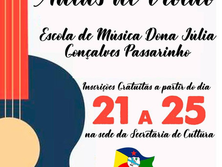 Cultura: Inscrição para aulas de violão vão até 25 de junho, participe