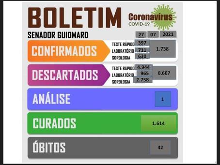 Boletim Covid-19, atualizado em 27 de julho de 2021