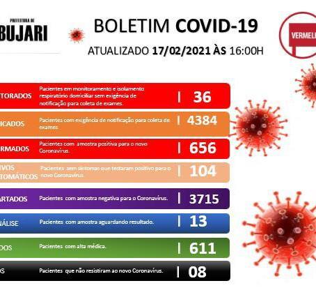 Boletim covid-19, atualizado em 17 de fevereiro de 2021