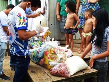 Prefeitura atráves da secretaria de assistência social continua com a entrega de cestas básicas