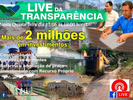 Prefeito Isaac Piyãko realiza live de transparência sobre o investimento de 2 milhões de obras
