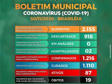 Boletim Covid-19 atualizado, 30 de Novembro de 2020