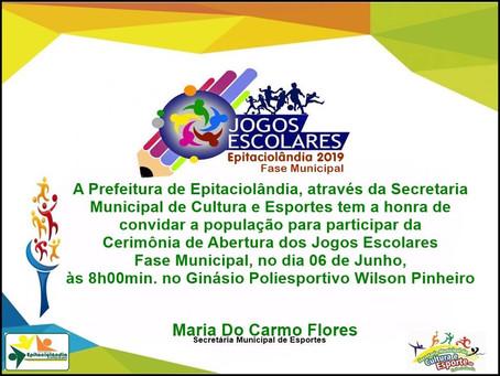 Prefeitura de Epitaciolândia convida a população para participa da Cerimônia de aberturas dos jogos