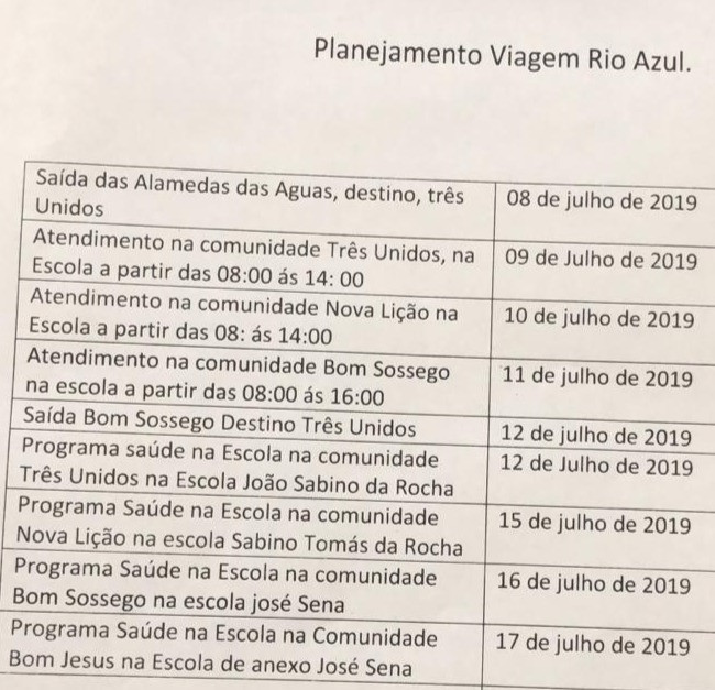 Cronograma do Planejamento do Atendimento Itinerante de Saúde (Comunidade Rio Azul)
