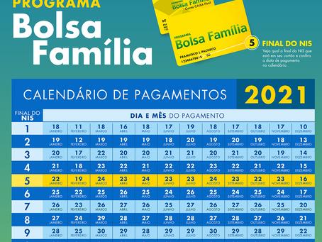 Assistência Social: Divulgado o calendário para saque do Bolsa Família para 2021
