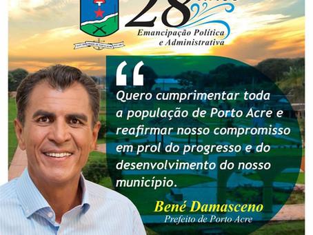 Bené Damasceno parabeniza Porto Acre pelos 28 anos de emancipação