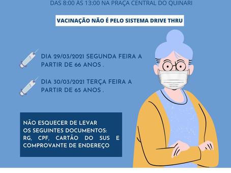 Vacinação para idosos pelo sistema DRIVE THRU