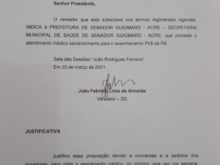 Vereador Fabrício Lima apresenta pedido de indicação 32/2021