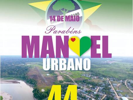 Prefeito Tanizio Sá, parabeniza Manoel Urbano e seus moradores pelo 44 anos do município