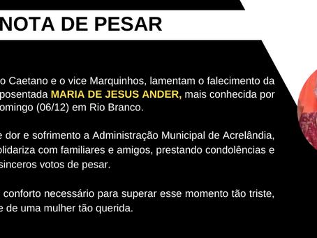 Luto: Prefeito Caetano decreta três dias de luto pelo falecimento da MAZICA