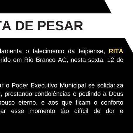 Nota de pesar pelo falecimento da feijoense Rita Maria da Silva