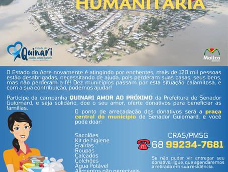 Prefeitura de Senador Guiomard realiza Campanha Humanitária