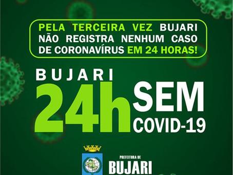 Bujari fica pela terceira vez sem registrar novos casos de coronavírus em 24 horas